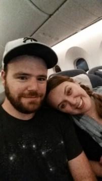 On board the long flight to London.