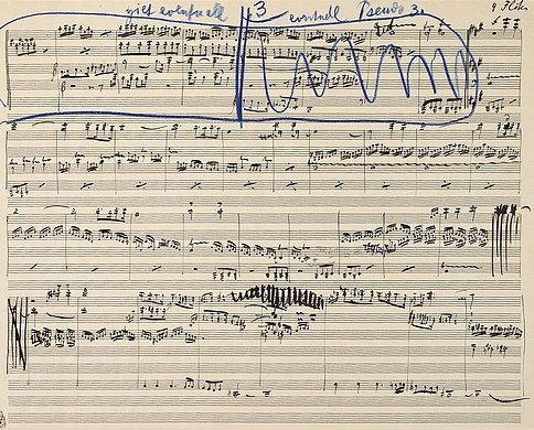Manuskript-Skizze der 4. Sinfonie von Gustav Mahler (1. Satz, 1. Fassung 1899)
