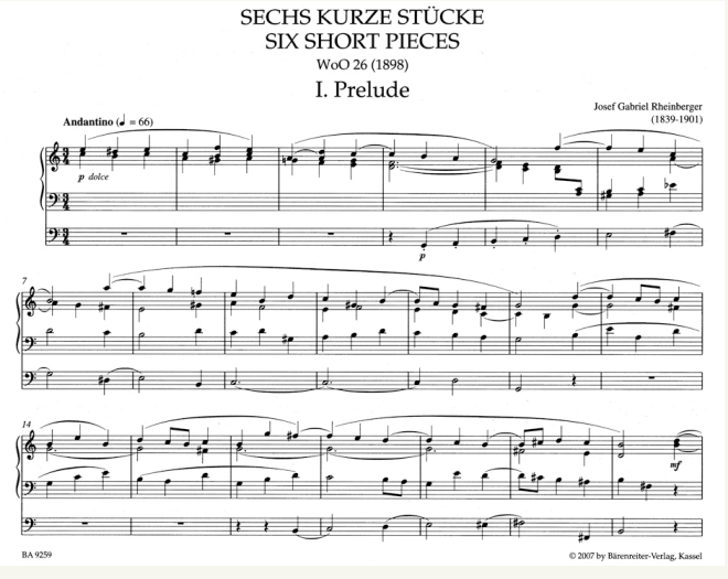 Josef Gabriel Rheinberger - Leichte Orgelstücke des 19. Jahrhunderts - Bärenreiter Verlag (Leseprobe)