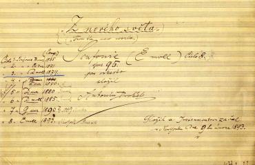 Dvorak-Autograph: Titelblatt der 9. Sinfonie