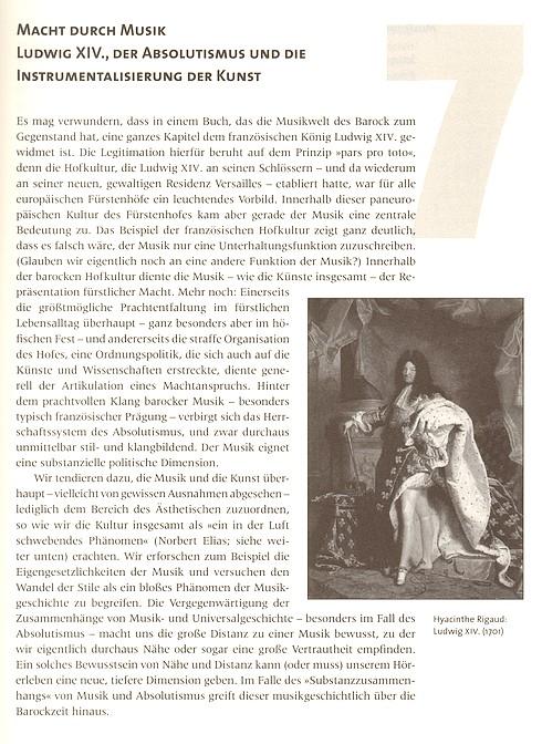 """Leseprobe 1 aus: Bernhard Morbach, Die Musikwelt des Barock (""""Macht durch Musik - Ludwig XIV."""")"""