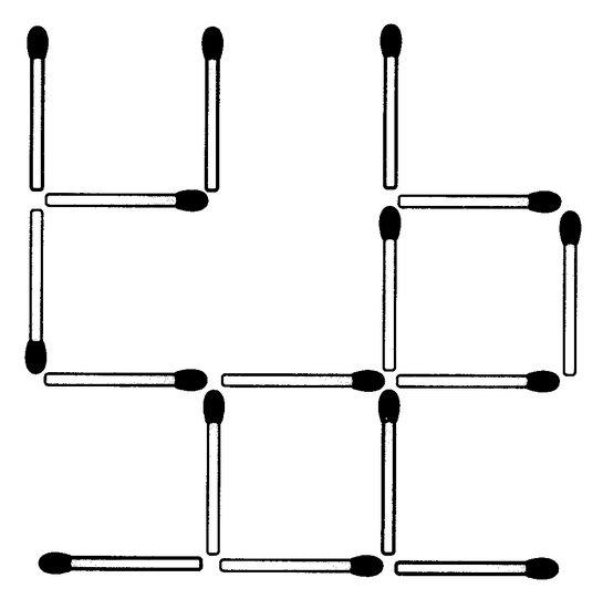 Streichholzrätsel Denksport-Aufgabe mit Lösung Matchstick Puzzle (Nummer 17)