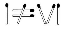 Streichholzrätsel Denksport-Aufgabe mit Lösung Matchstick Puzzle (Nummer 20) Lösung