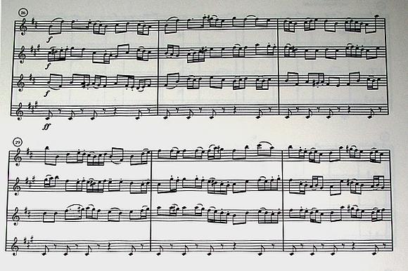 Partitur-Auszug des «Totentanzes» für Saxophon-Quartett von Bastian Fiebig
