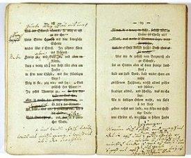 Hebels Handexemplar der «Alemannischen Gedichte» mit persönlichen Korrekturen