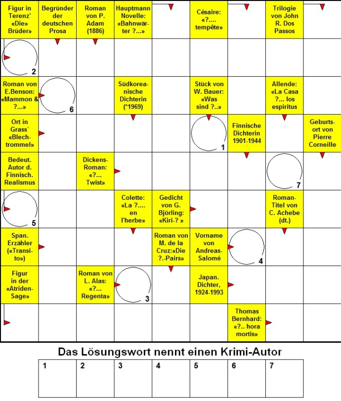 Das neue Literatur-Kreuzworträtsel (Mai 2013)