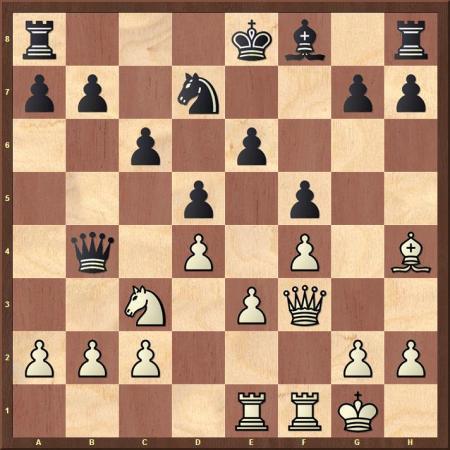 Diagramm: Kurt Richter vs Abraham Baratz (Prag 1931) - nach 13. ... Db4