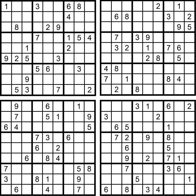 Sudoku-Quartett-Rätsel-Aufgaben - Mai 2016 - Glarean Magazin