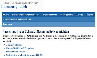 Nachrichten zum Thema Rassismus in der Schweiz (Informationsplattform humanrights.ch)