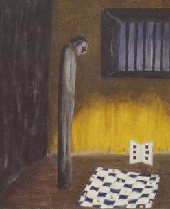 Elke Rehder - Bild Dr. B. in Isolationshaft - Ausstellung Stefan Zweig - Glarean Magazin