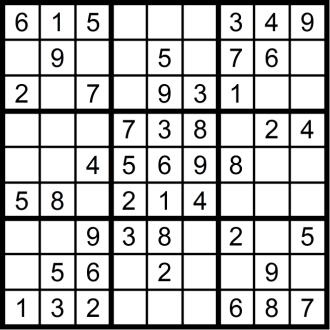 Sudoku 1 - November 2018 - Aufgabe - Glarean Magazin