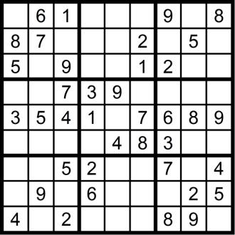 Sudoku 3 - November 2018 - Aufgabe - Glarean Magazin