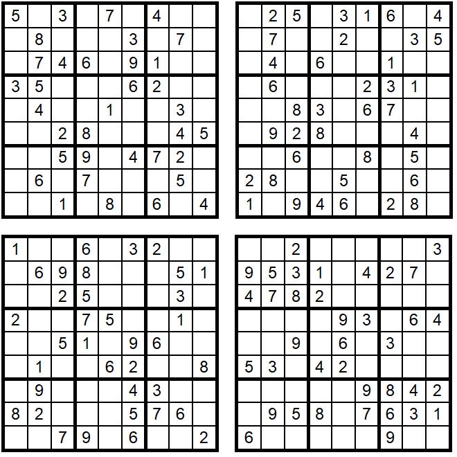 Neue leichte Sudoku 1-4 - August 2019 - Aufgaben - Glarean Magazin