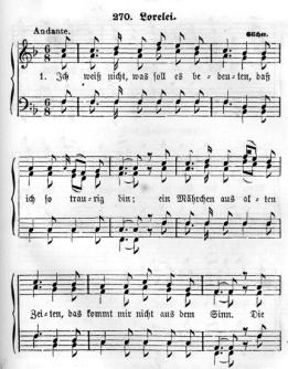 """Seicht-verkitschte Vertonung von Heinrich Heine's """"Ich weiss nicht was solles bedeuten"""" durch Friedrich Silcher"""