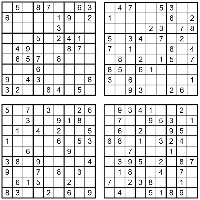 Neue leichte Sudoku 1-4 Januar 2020 - Aufgaben GLAREAN MAGAZIN