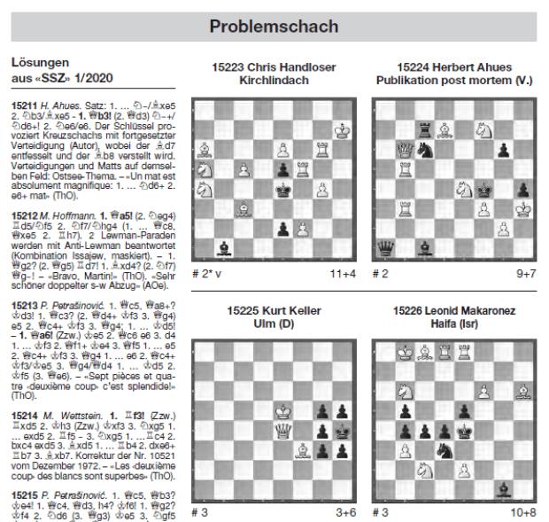 Problemschach in der Schweizerischen Schachzeitung 3-2020 - Glarean Magazin