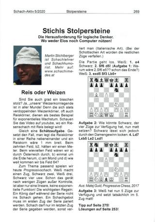 Schach-Humorist Martin Stichlberger - Probeseite Schach-Aktiv Oesterreich - Glarean Magazin