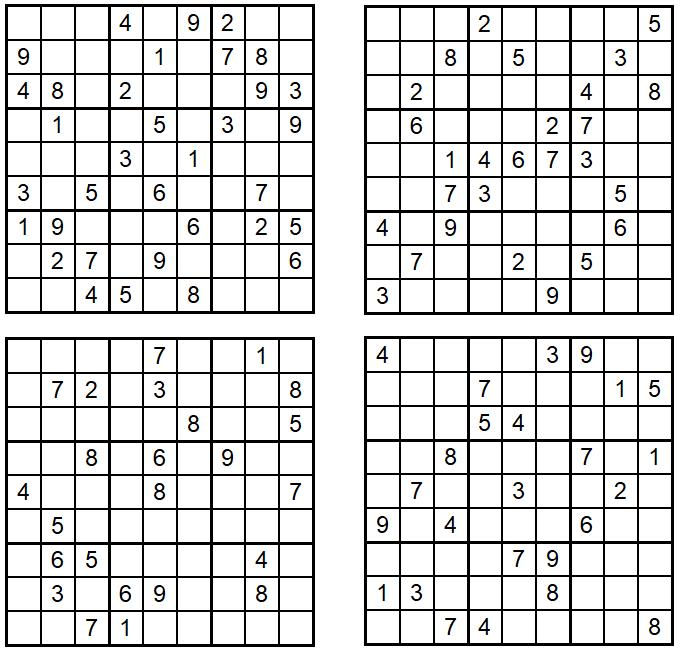 Sudoku 1-4 - Oktober 2020 - Aufgaben - Glarean Magazin
