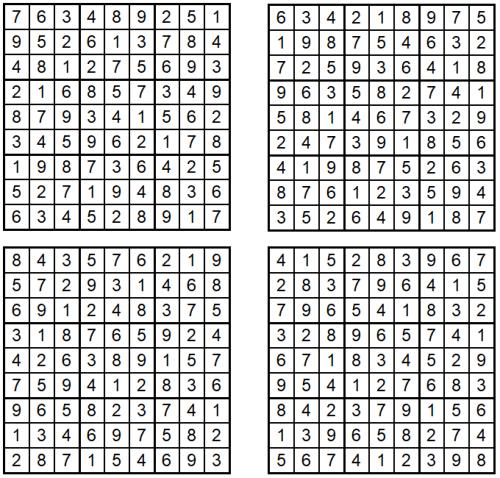 Sudoku 1-4 - Oktober 2020 - Lösungen - Glarean Magazin