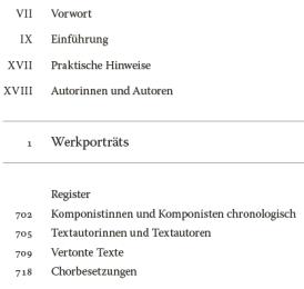 Handbuch der Chormusik - Bernd Stegmann - 800 Werke aus sechs Jahrhunderten - Bernd Stegmann - Inhaltsverzeichnis - Rezension Glarean Magazin