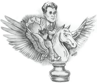 Karikatur von Frank Stiefel - Boris Spasski auf dem Weg zum Olymp - Glarean Magazin