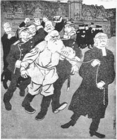 Tolstoj in Leipzig (Karikatur: Tolstoj wird wegen seiner «Auferstehung» in Leipzig verhaftet; «Simplicissimus» 1902)