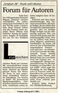 SCRIPTUM-Rezension in der Fuldaer Zeitung