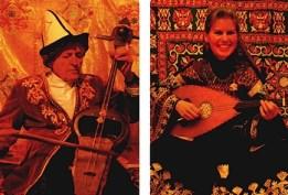 Oruç Güvenç mit dem schamanischen Kilkopuz, Andrea-Azize Güvenç mit der altorientalischen Kopuz