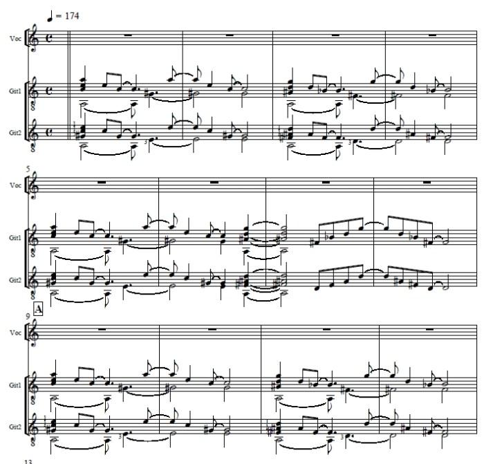 Partitur-Anfang von «Das Glas» (Komposition und Arrangement: J. Lori Lorenzen)