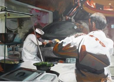 András Pinczehelyi, Pizzeria, 2016, Öl auf Leinwand, 50 x 70 cm