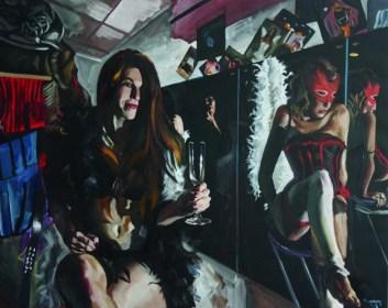 András Pinczehelyi, Moulin Rouge, 2016, Öl auf Leinwand, 80 x 100 cm