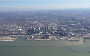 Approaching home base: Cleveland, Ohio.