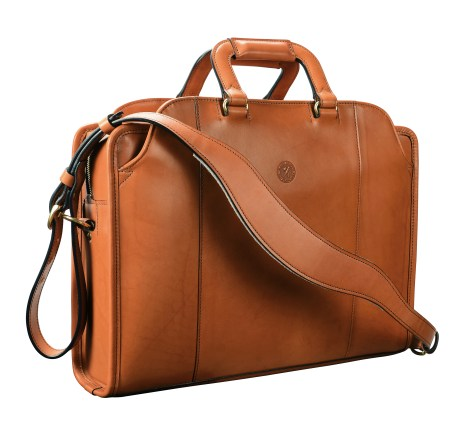 Hand-burnished-chestnut-Day-Bag;-17-x-12-x-4'