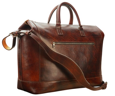 Hand-grained,-hand-colored,-mahogany-Club-Bag-with-hand-grained-natural-trim;-19-x-13-x-8'