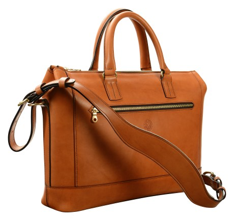 Hand-burnished,-chestnut-Club-Bag-with-tangerine-orange-lining;-16-x-10-x-4'