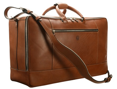 Hand-burnished,-espresso-Square-Duffel;-22-x-14-x-8'