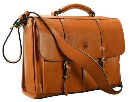Hand-burnished,-chestnut-Flaptop-Bag;-16-x-11-x-4'