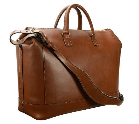 Hand-burnished,-espresso-Club-Bag-with-turquoise-blue-and-crimson-red-lining;-19-x-13-x-8'-back