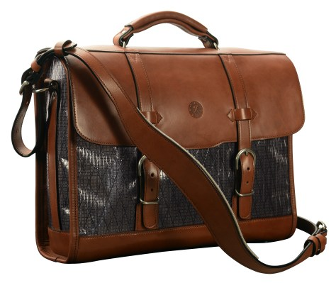 Hand-burnished,-espresso-Headhunter-Flaptop-Bag-with-black-sailcloth;-16-x-12-x-4'