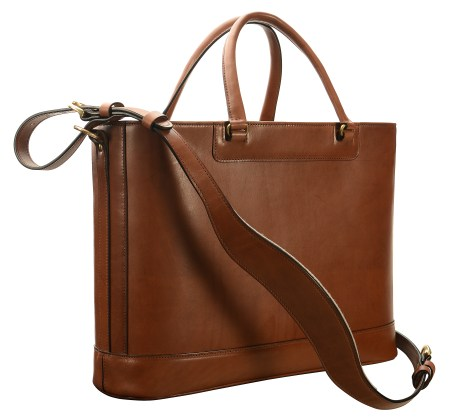 Hand-burnished,-espresso-Business-Tote-with-handles-and-strap;-17-x-13-x-5'