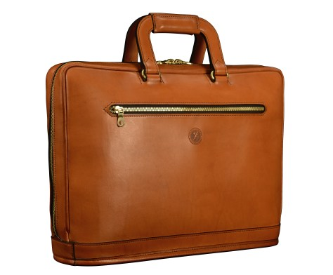 Hand-burnished,-chestnut-Platform-Portfolio-with-open-back-pocket;-16-x-11-x-4'
