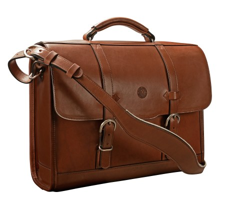 Hand-burnished,-espresso-Headhunter-Flaptop-Bag;-16-x-12-x-4'