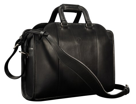 Hand-burnished,-handmade-black-Day-Bag;-17-x-12-x-4'