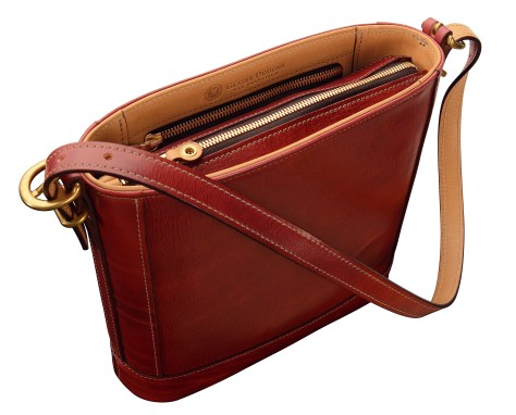 Hand-grained,-hand-colored-berbere-red-Shoulder-Bag-with-natural-trim-and-short-strap;-10-x-10-x-3'-topdown1