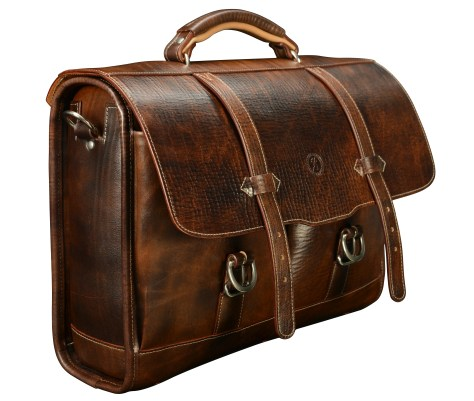 Hand-grained,-hand-colored-espresso-Flaptop-Bag-with-hand-grained-natural-trim;-17-x-12-x-5'-side