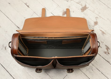 Hand-grained,-hand-colored-espresso-Flaptop-Bag-with-hand-grained-natural-trim;-17-x-12-x-5'-topdown2