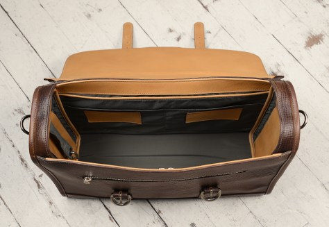 Hand-grained,-hand-colored-espresso-Headhunter-Flaptop-Bag-with-hand-grained-natural-trim;-17-x-12-x-5'-topdown2