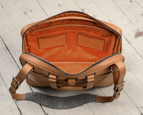 Hand-grained,-handmade-natural-leather-Platform-Portfolio-with-cross-body-shoulder-strap-and-tangerine-grosgrain-lining;-15-x-11-x-4'-topdown2