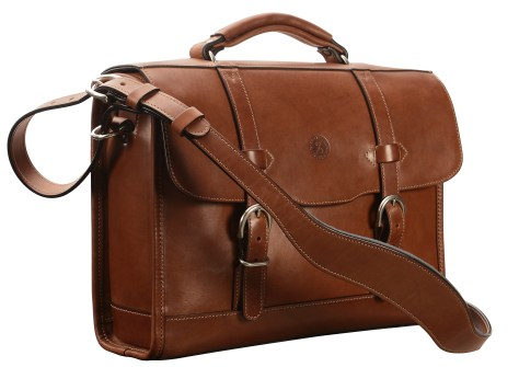 Hand-burnished,-espresso-Headhunter-Flaptop-Bag-with-natural-thread;-15-x-11-x-4'