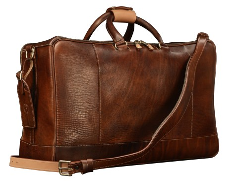 Hand-grained,-hand-colored-sienna-Square-Duffel-with-hand-grained-natural-trim;-20-x-13-x-8'-back